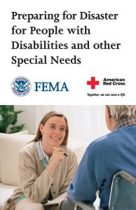 image of booklet called Preparing for Disaster for People with Disabilities and other Special Needs