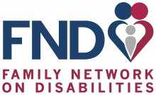 Family Network on Disabilities logo shows capital letters F N D