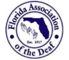 logo shows Florida Association of the Deaf, an image of the state of Florida, and hands signing F A D inside a circle