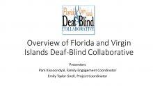 Title Slide shows FAVI logo and title Overview of Florida and Virgin Islands Deaf-Blind Collaborative
